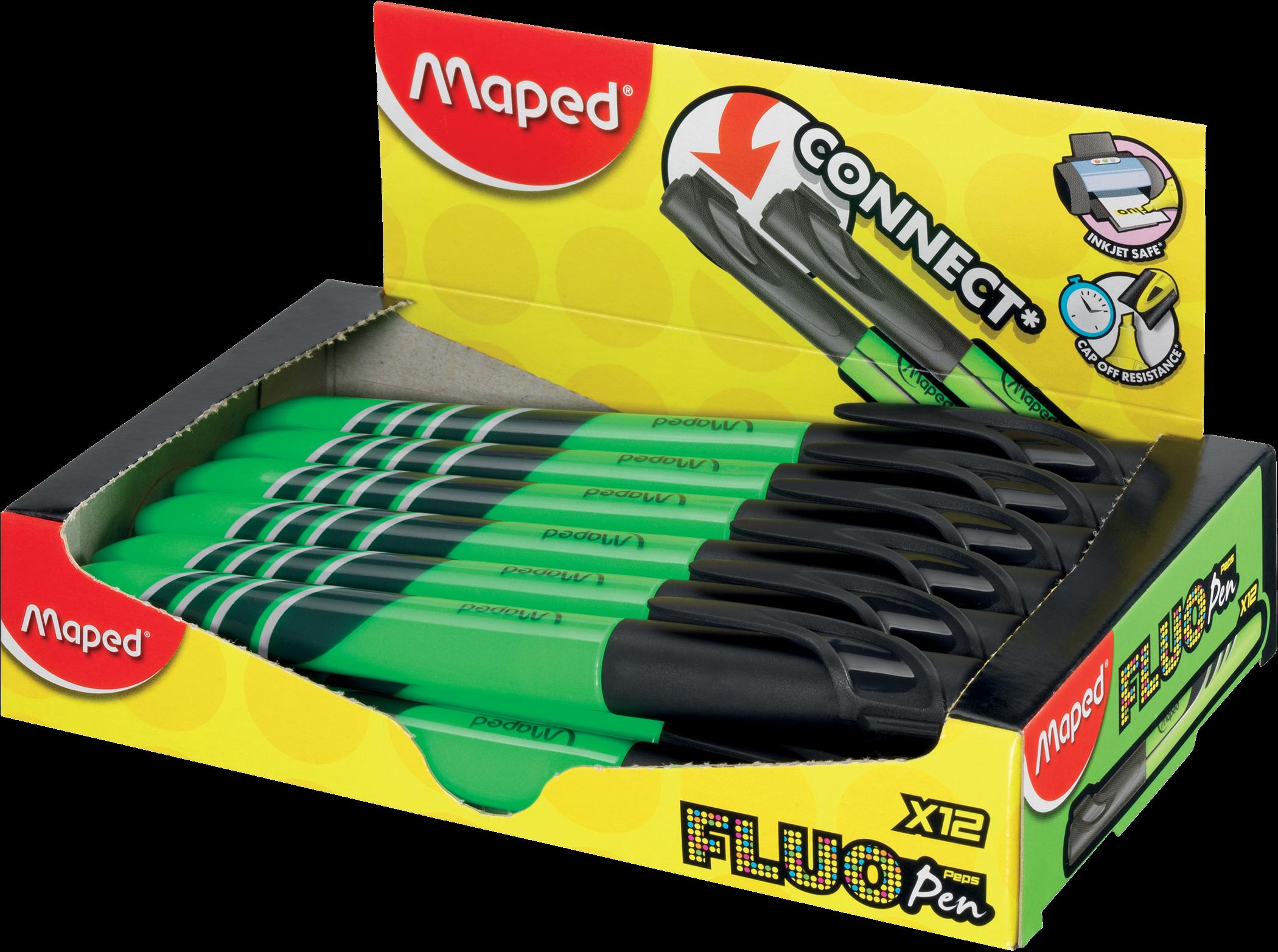 Текстовыделитель FluoPeps Pen зелёный, 12 шт.
