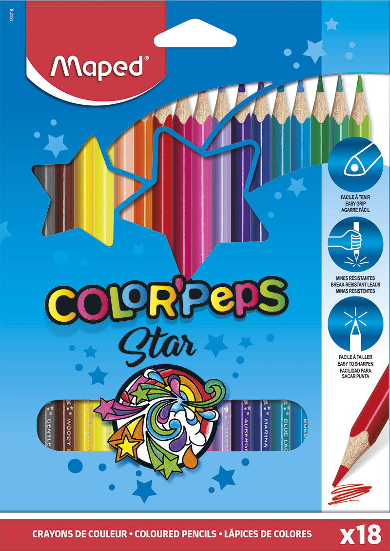 Цветные карандаши ColorPeps Star, 18 шт.