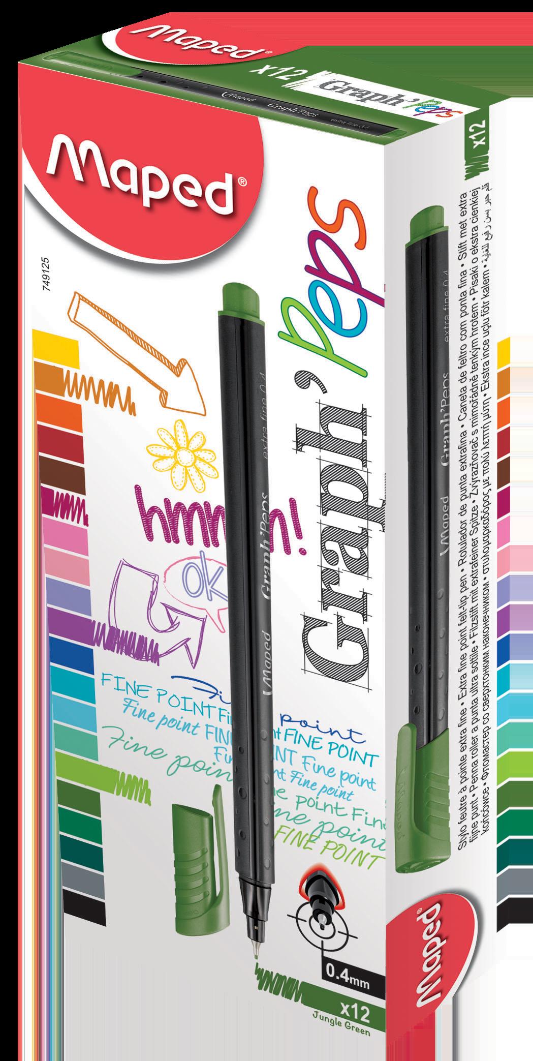 Капиллярные ручкиGraph'Peps, зеленые джунгли