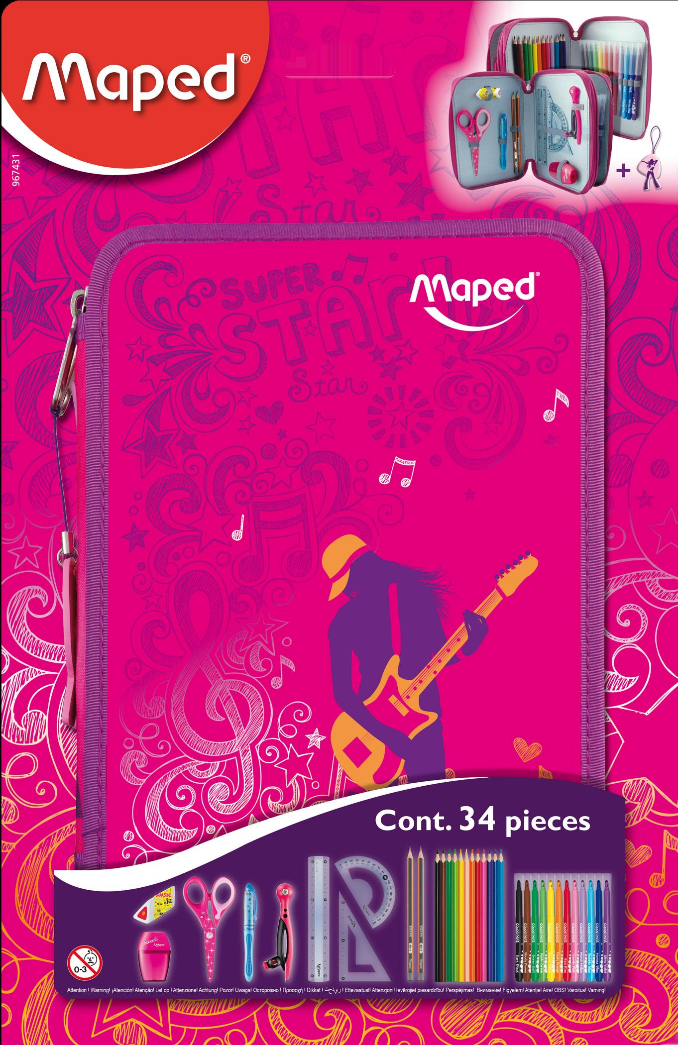 Школьный пенал снаполнением Розовый— 2 отделения
