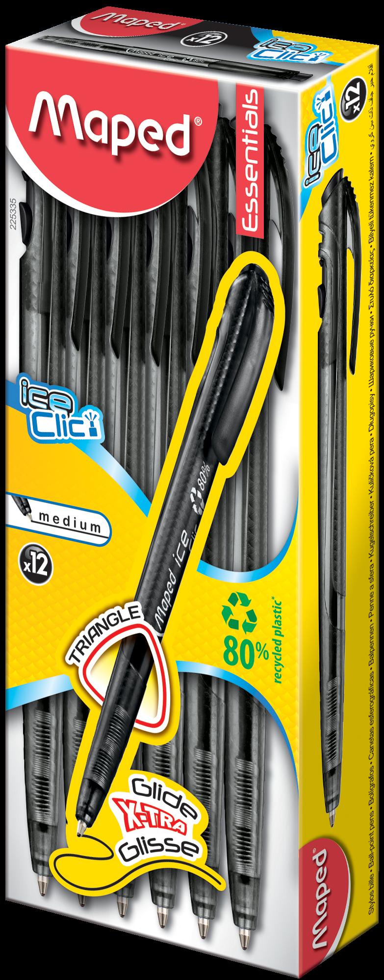 Шариковые ручки Ice Clic черные, 12 шт