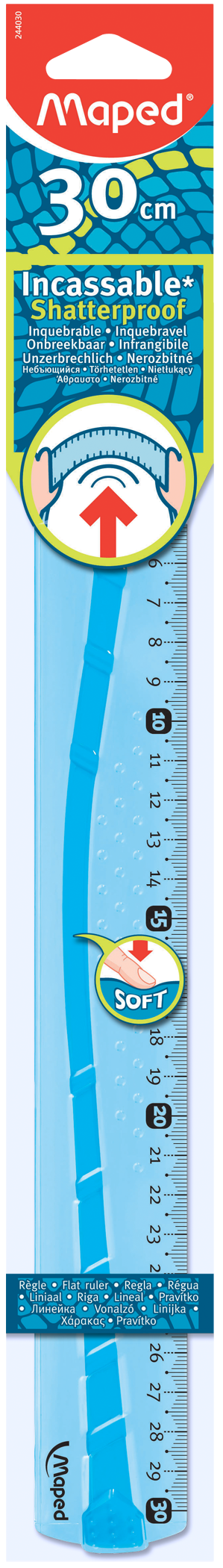 Упругая эргономичнаялинейка Flex, 30 см