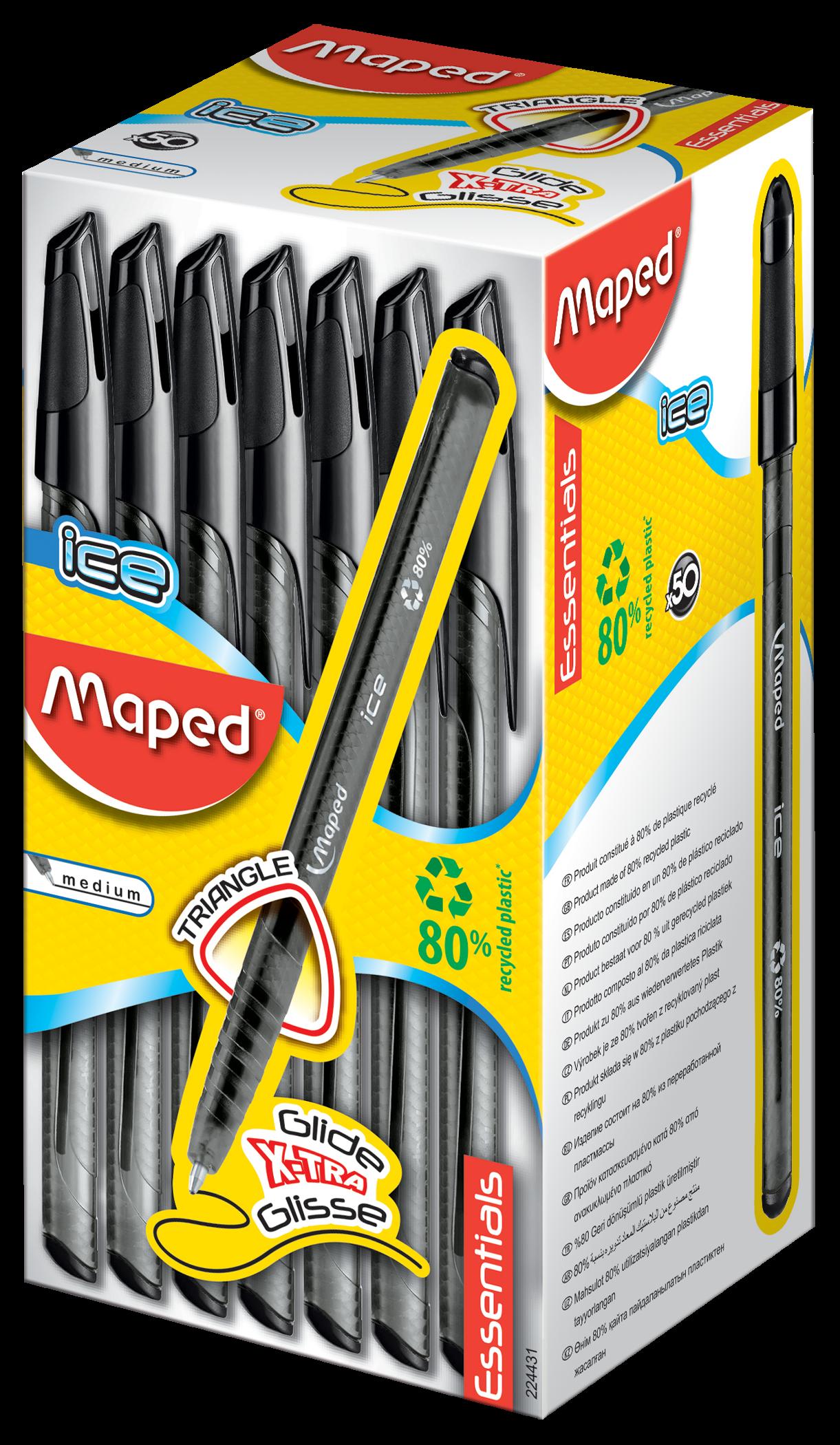 Шариковые ручки Ball'Peps Ice черные, 50 шт