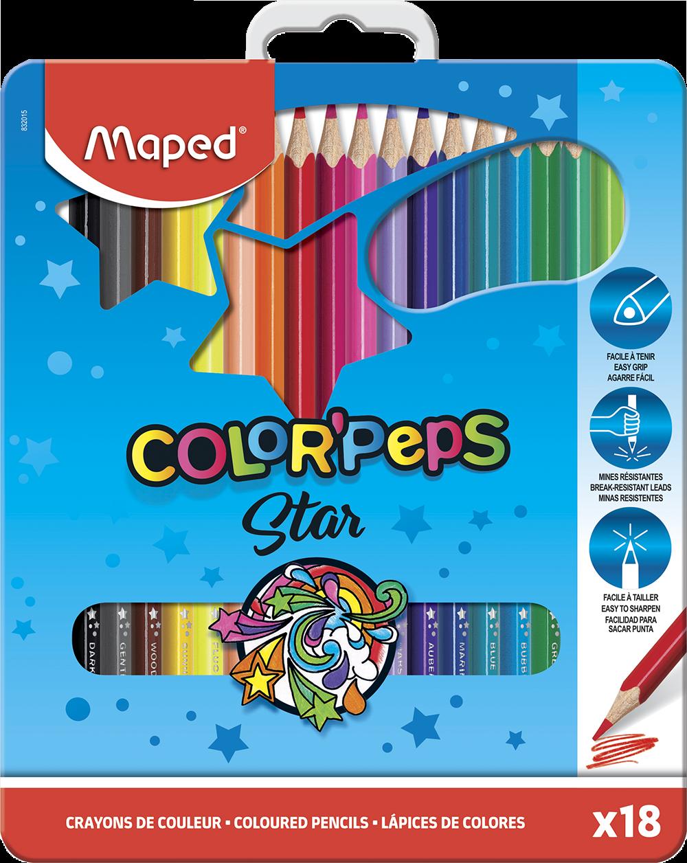 Цветные карандаши ColorPeps Star вметаллической коробке, 18 цв.