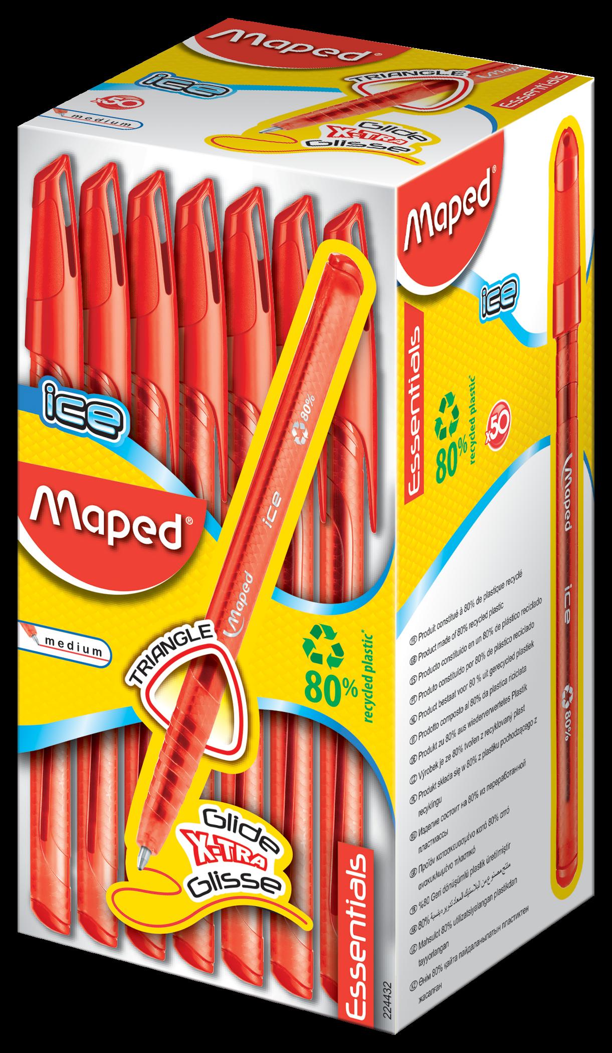 Шариковые ручки Ball'Peps Ice красные, 50 шт