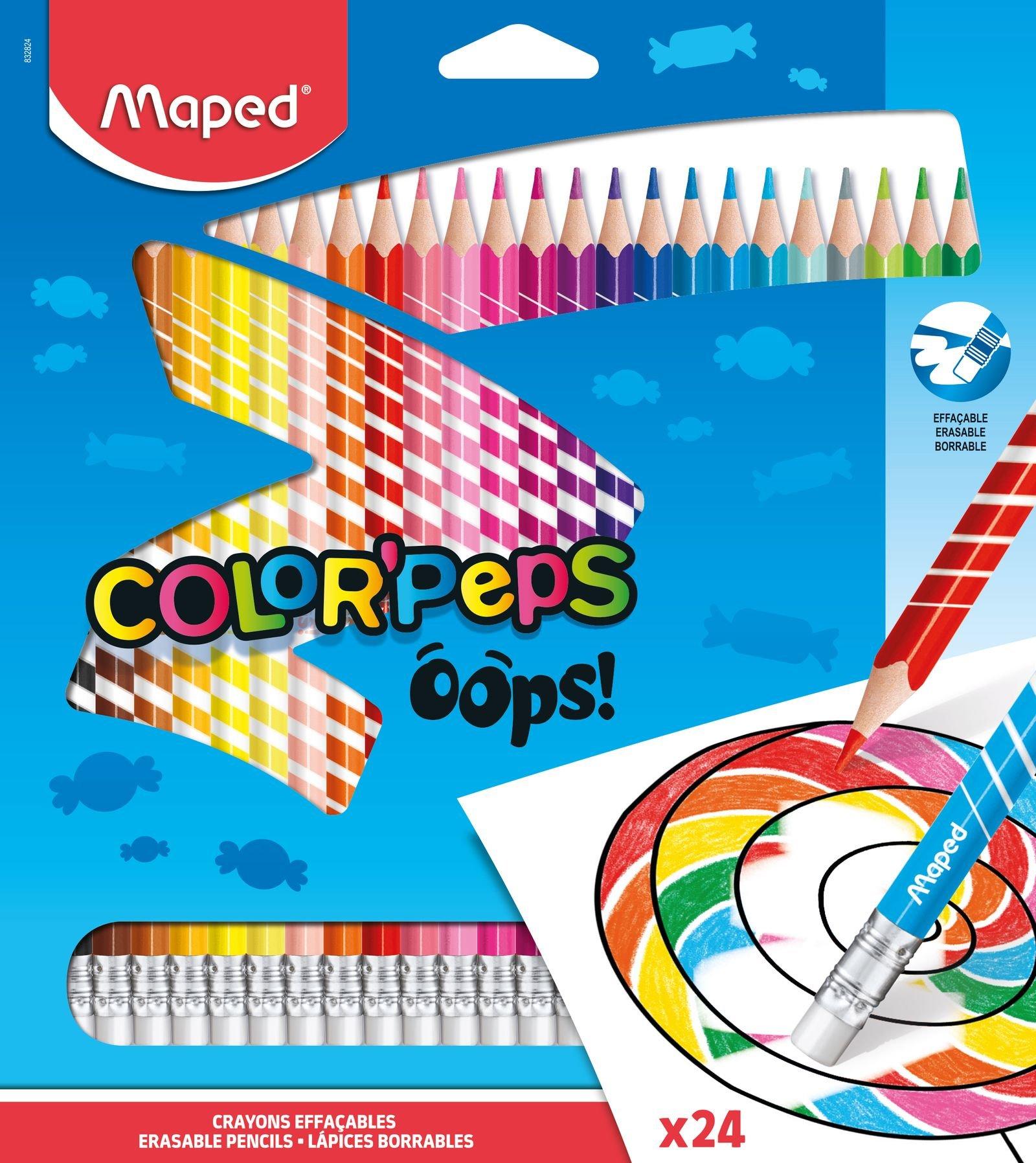 Стираемые цветные карандаши Oops Peps, 24 цвета