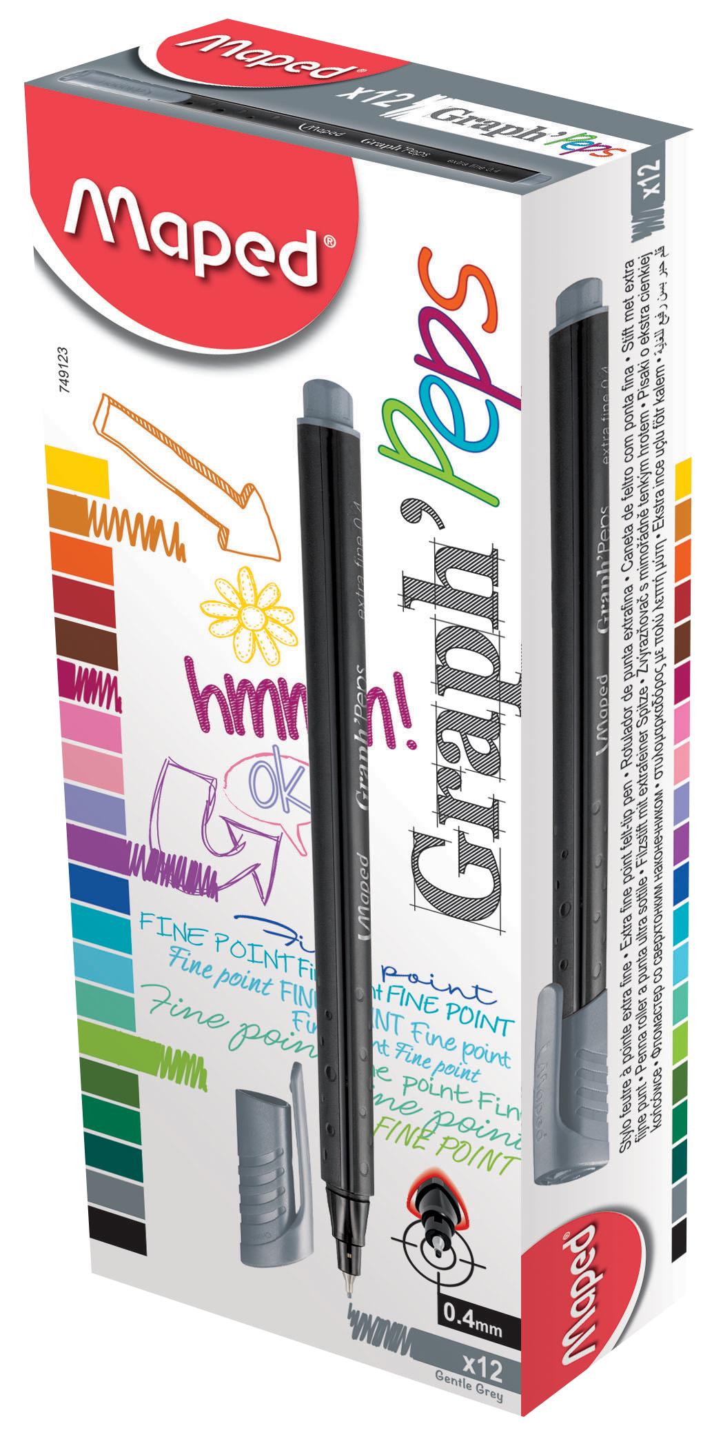 Капиллярные ручкиGraph'Peps, серые