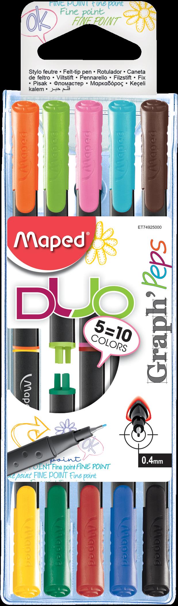 Капиллярные ручки Graph'Peps Duo, 5 шт