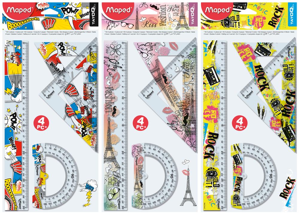 Набор линеек Tatoo, 4 предмета(Комиксы, Париж, Музыка)