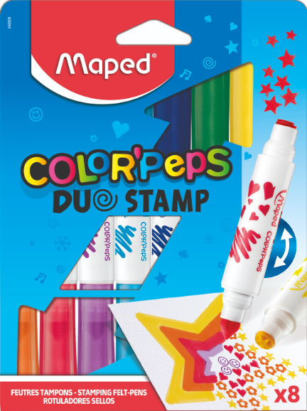 Фломастеры соштампами ColorPeps Duo Stamp, 8 цв.