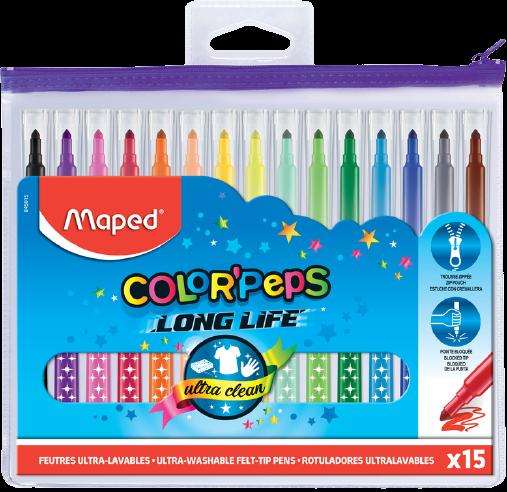 Фломастеры Long Life (пластиковая zip упаковка), 15 шт