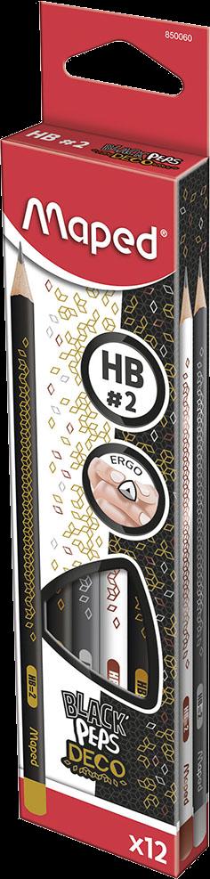 Карандаши чернографитовые HB, 12 шт