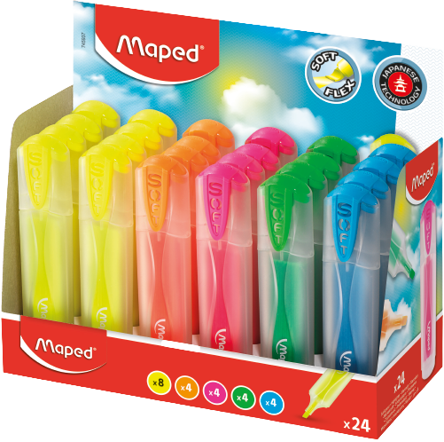 Текстовыделитель FluoPeps UltraSoft Translucent, 24 цв.